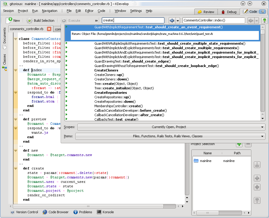 Ruby Language Support in KDevelop4 - Blog - Alexander Dymo